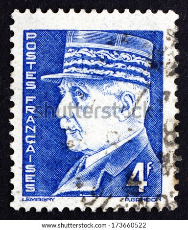 FRANCE - CIRCA 1942: a stamp printed in the France shows Portrait of Marshal Petain, Philippe Petain, Hero of World War I, Chief of State of Vichy France, circa 1942 - stock photo