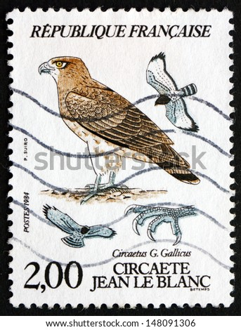 FRANCE - CIRCA 1984: a stamp printed in the France shows Short-toed Eagle, Circaetus Gallicus, Bird of Prey, circa 1984 - stock photo