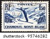FRANCE - CIRCA 1937: a stamp printed in the France shows Ski Jumper, International Ski Meet at Chamonix, Mont Blanc, circa 1937 - stock photo