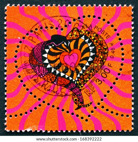FRANCE - CIRCA 2000: a stamp printed in the France shows Snakes, Heart, circa 2000 - stock photo