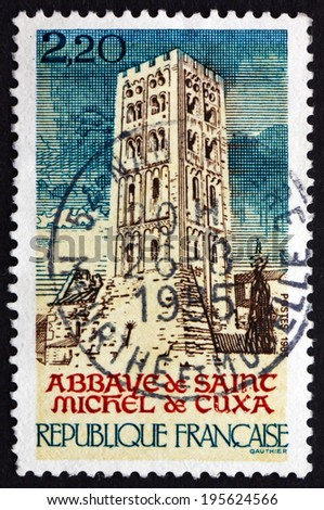 FRANCE - CIRCA 1985: a stamp printed in the France shows St. Michel de Cuxa Abbey, is a Benedictine Abbey located in Codalet, in Southwestern France, circa 1985 - stock photo