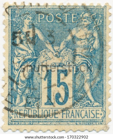 FRANCE - CIRCA 1892: a stamp printed in the France shows Symbols for peace and trade, circa 1892 - stock photo