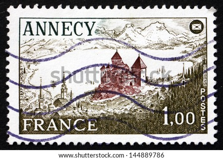 FRANCE - CIRCA 1977: a stamp printed in the France shows View of Annecy Chateau, Haute-Savoie department, circa 1977