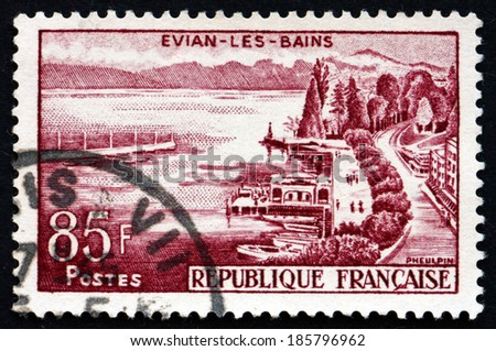 FRANCE - CIRCA 1959: a stamp printed in the France shows View of Evian-les-Bains, Commune in the Haute-Savoie Department of the Rhone-Alpes, circa 1959 - stock photo
