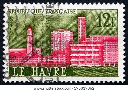 FRANCE - CIRCA 1958: a stamp printed in the France shows View of Le Havre, City in the Haute-Normandie Region, Reconstruction of War-damaged City, circa 1958 - stock photo