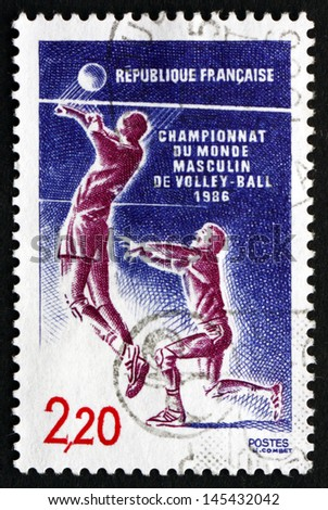 FRANCE - CIRCA 1986: a stamp printed in the France shows Volleyball, Men World Volleyball Championship, circa 1986 - stock photo
