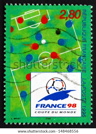 FRANCE - CIRCA 1995: a stamp printed in the France shows 1998 World Cup Soccer Championships, France, circa 1995 - stock photo