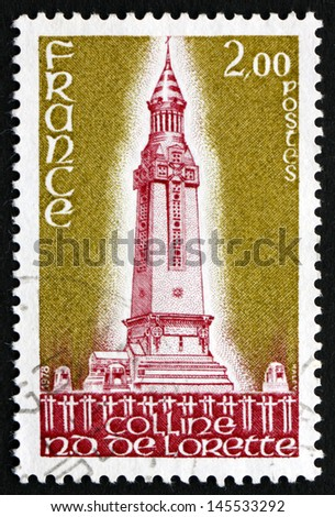 FRANCE - CIRCA 1978: a stamp printed in the France shows World War I Memorial near Lens, Colline Notre Dame de Lorette Memorial of World War I, circa 1978 - stock photo