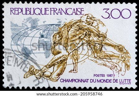FRANCE - CIRCA 1987: a stamp printed in the France shows World Wrestling Championships 1987, circa 1987 - stock photo