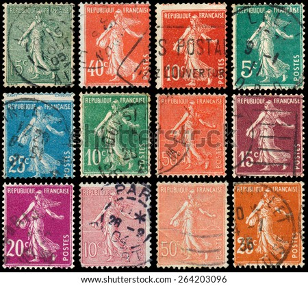 FRANCE - CIRCA 1906: Set of stamps printed by France shows sowing, circa 1906  - stock photo