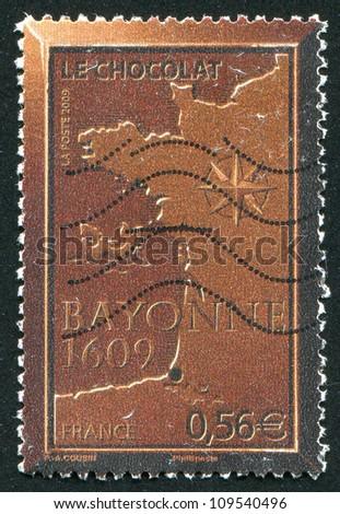 FRANCE - CIRCA 2009: stamp printed by France, shows Chocolate Bayonne, circa 2009 - stock photo