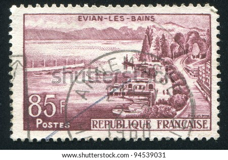 FRANCE - CIRCA 1957: stamp printed by France, shows Evian les Bains, circa 1957