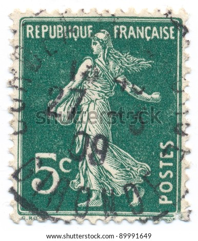 FRANCE - CIRCA 1906: stamp printed by France, shows sowing (date postmarked 27-3-09), circa 1906
