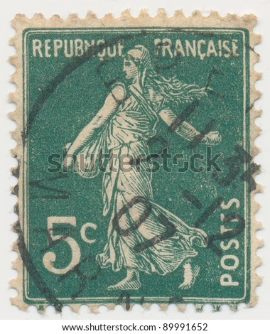 FRANCE - CIRCA 1906: stamp printed by France, shows sowing (date postmarked 2-12-07), circa 1906