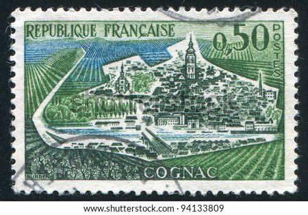 FRANCE - CIRCA 1961: stamp printed by France, shows view of Cognac, circa 1961