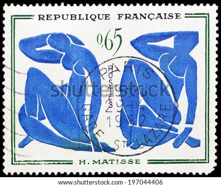 FRANCE - CIRCA 1962: stamp printed in France, shows shows a painted picture of Henri Matisse--Blue Nude, circa 1962 - stock photo