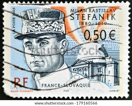 FRANCE - CIRCA 2003: stamp printed in France shows Stefanik, circa 2003 - stock photo