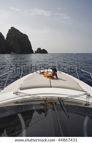 France, Corsica, Girolata Marine National Park, luxury yacht,  Azimut Atlantis 50', relaxing on board