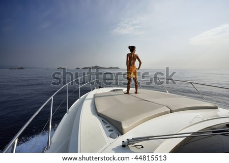 France, Corsica, Girolata Marine National Park, luxury yacht, on board