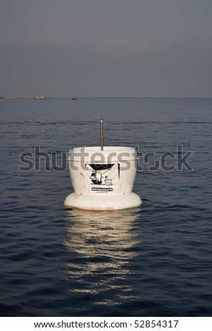 France, Corsica, Girolata Marine National Park, sea garbage container for boats - stock photo