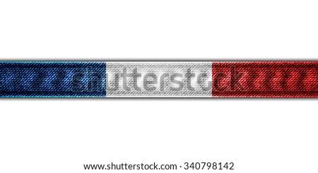 France flag denim ribbon - stock photo
