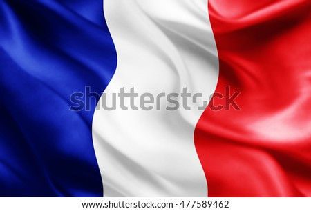 France flag of silk-3D illustration