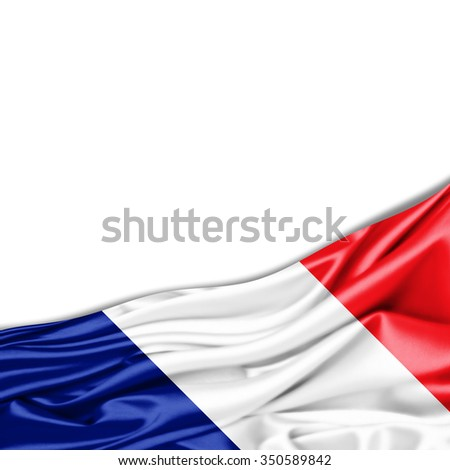 France flag of silk with copyspace for your text or images and white background