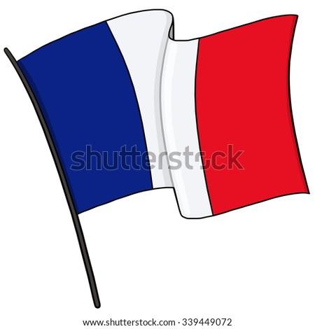 France Flag on a pole Illustration - stock photo