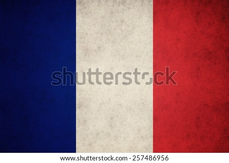 France flag on concrete textured background - stock photo