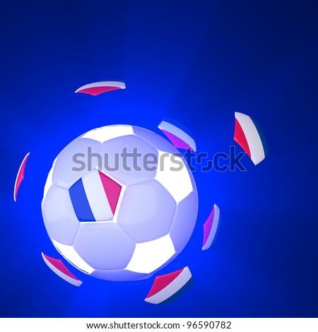 France flag on 3d football for Euro 2012 Group D - stock photo