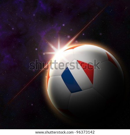 France flag on 3d football with rising sun illustration for Euro 2012 Group D - stock photo