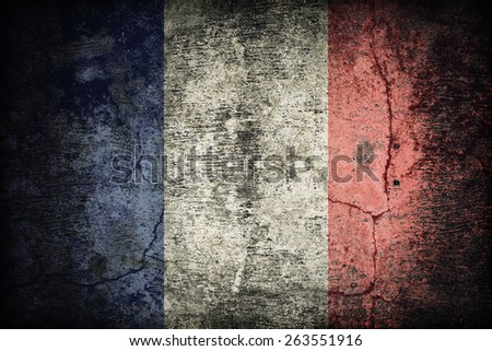 France flag pattern on dirty old concrete wall texture ,retro vintage style - stock photo