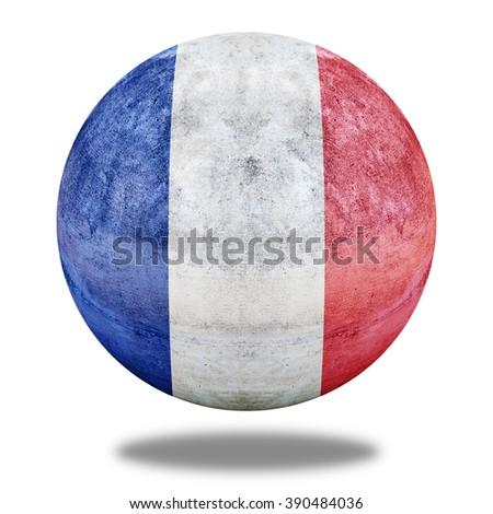 France flag pattern on stone circle shape texture - stock photo