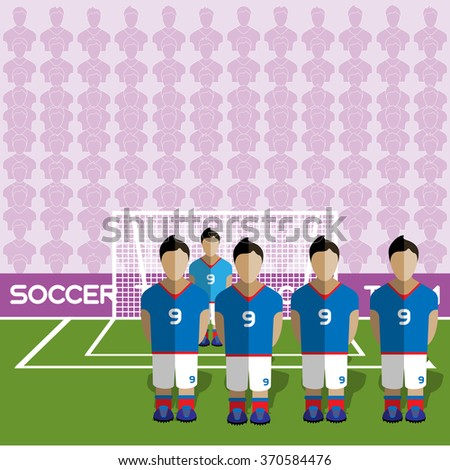 France Football Club Soccer Players Silhouettes. Computer game Soccer team players big set. Sports infographic. Football Teams in Flat Style. Goalkeeper Standing in a Goal. Raster illustration. - stock photo