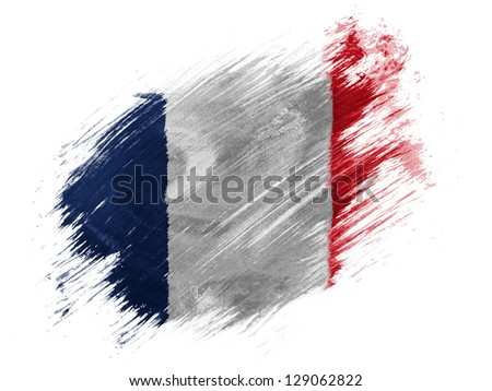 France. French flag  painted with brush on white background - stock photo