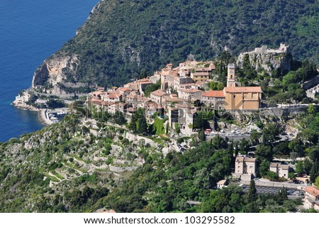 France, French riviera, Eze village, renowed site, famous view of the sea, castle - stock photo