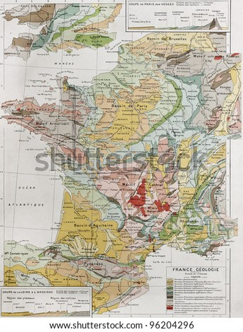 France geological map. By Paul Vidal de Lablache, Atlas Classique, Librerie Colin, Paris, 1894 (first edition) - stock photo
