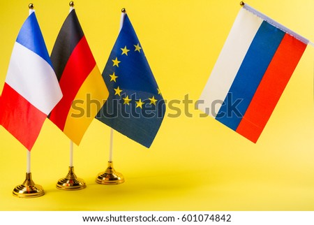 France, Germany, Eu and Russia flag