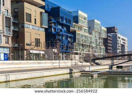 FRANCE, LYON - FEBRUARY 19: The Confluence District in Lyon, France on February 19, 2013. New district with an modern architecture in the place of the old port  - stock photo