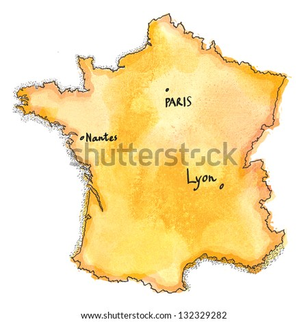 France map drawing. France map watercolor painted - stock photo