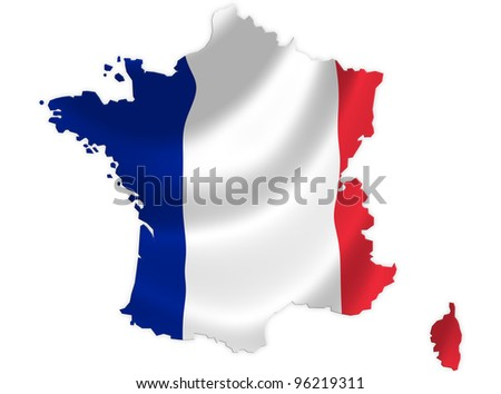 France map on a waving flag - stock photo