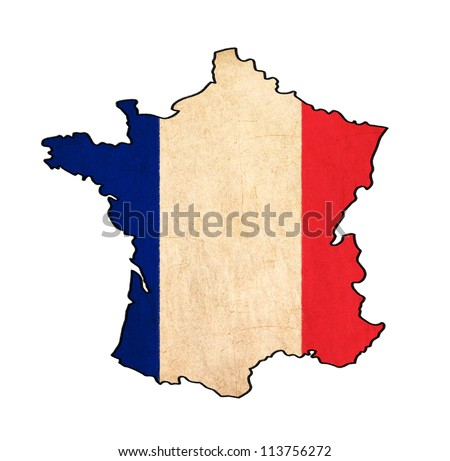 France map on France flag drawing ,grunge and retro flag series - stock photo