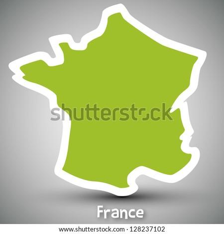 France map sticker - stock photo