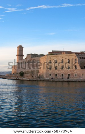 France Marseilles 17th Century Fort Saint-Jean incorporating the Commandry of the Knights Hospitaller of Saint John at harbor entrance - stock photo