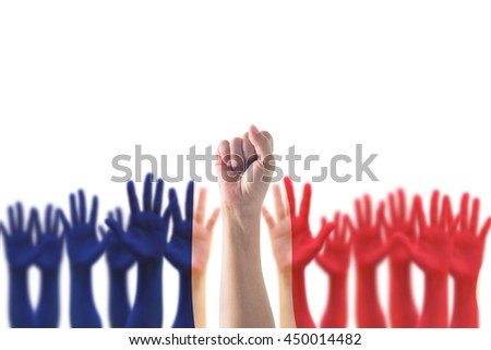 France national flag pattern on leader's fist among blur many people open palm hands crowd group raising up on white background: French Bastille Day, labour may day, human rights, leadership concept