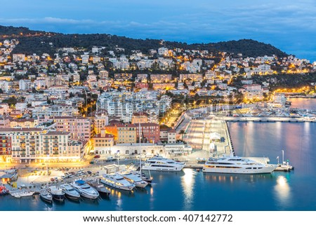 France Nice Cote d'Azur with mediterranean beach sea at dusk - stock photo