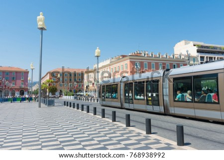 France. Nice. 20 Jun 2017. The tram from Massena