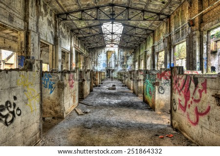 FRANCE - NOVEMBER 24: Abandoned stable in a former coal mine on November 24, 2012 somewhere in France - stock photo