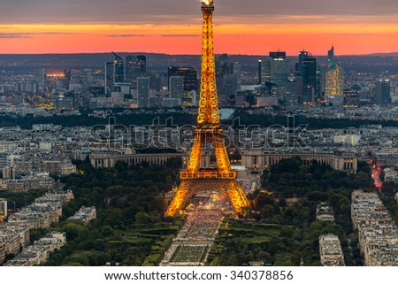 France, Paris - August 18, 2015: Night view of Paris and the Eiffel Tower