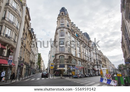 FRANCE, PARIS - OCTOBER, 02, 2016 Streets, buildings and traffic.